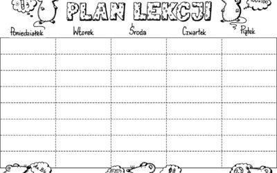 Plan lekcji- do kolorowania