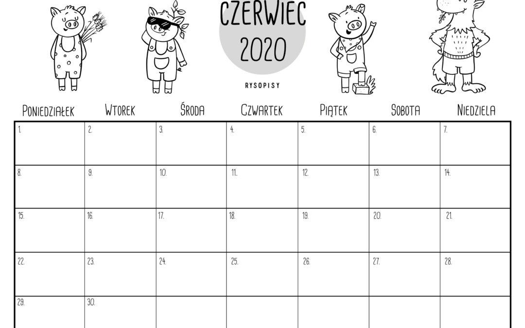 Kalendarz – czerwiec 2020 do kolorowania