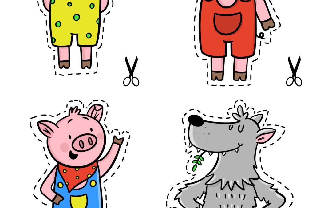 """Teatrzyk """"Trzy małe świnki""""- kolorowe"""